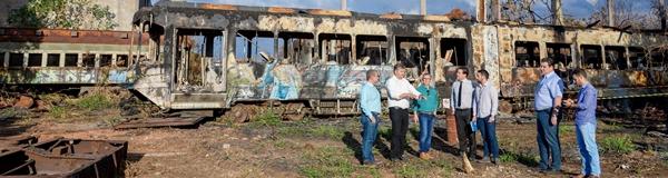 Técnicos do Dnit vistoriam  área da ferrovia em Rio Claro.